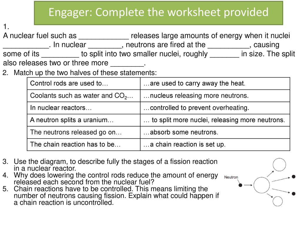 Worksheets Nuclear Reaction Worksheet nuclear fusion ppt download engager complete the worksheet provided