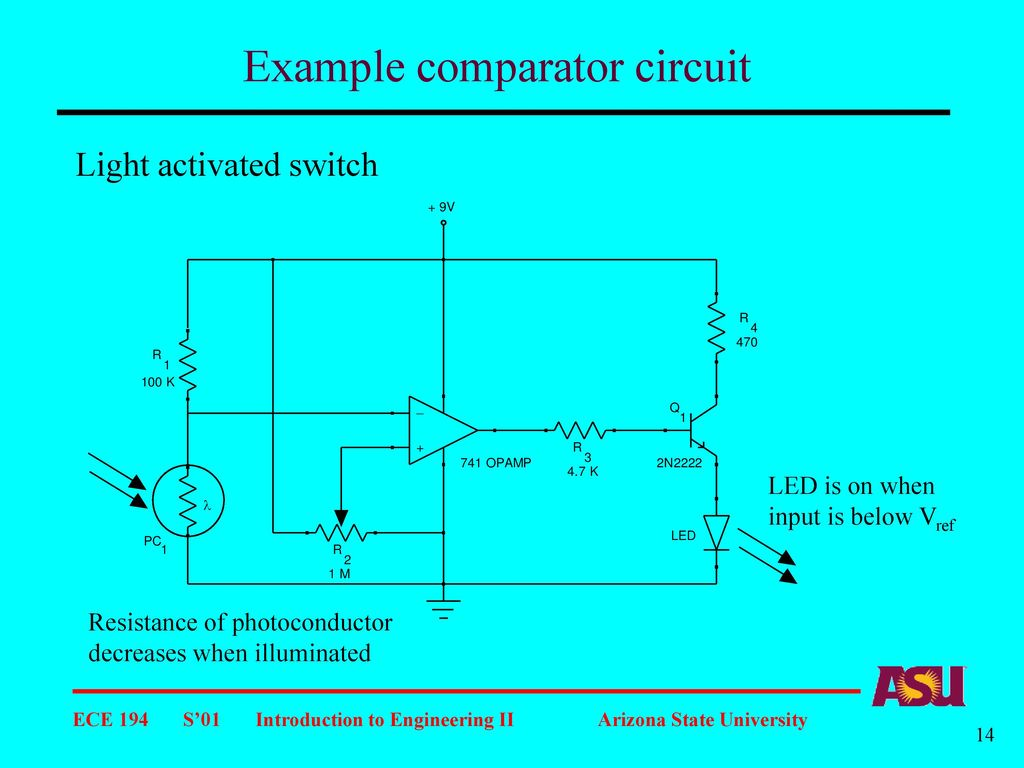 The Operational Amplifier Cont Ppt Download Light Activated Switch Circuit Diagram Example Comparator