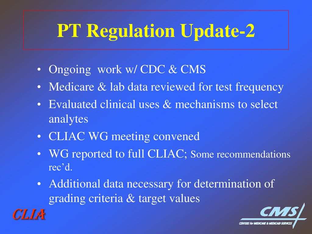 Clia vs fda regulation of ldts ppt download pt regulation update 2 clia ongoing work w cdc cms fandeluxe Image collections