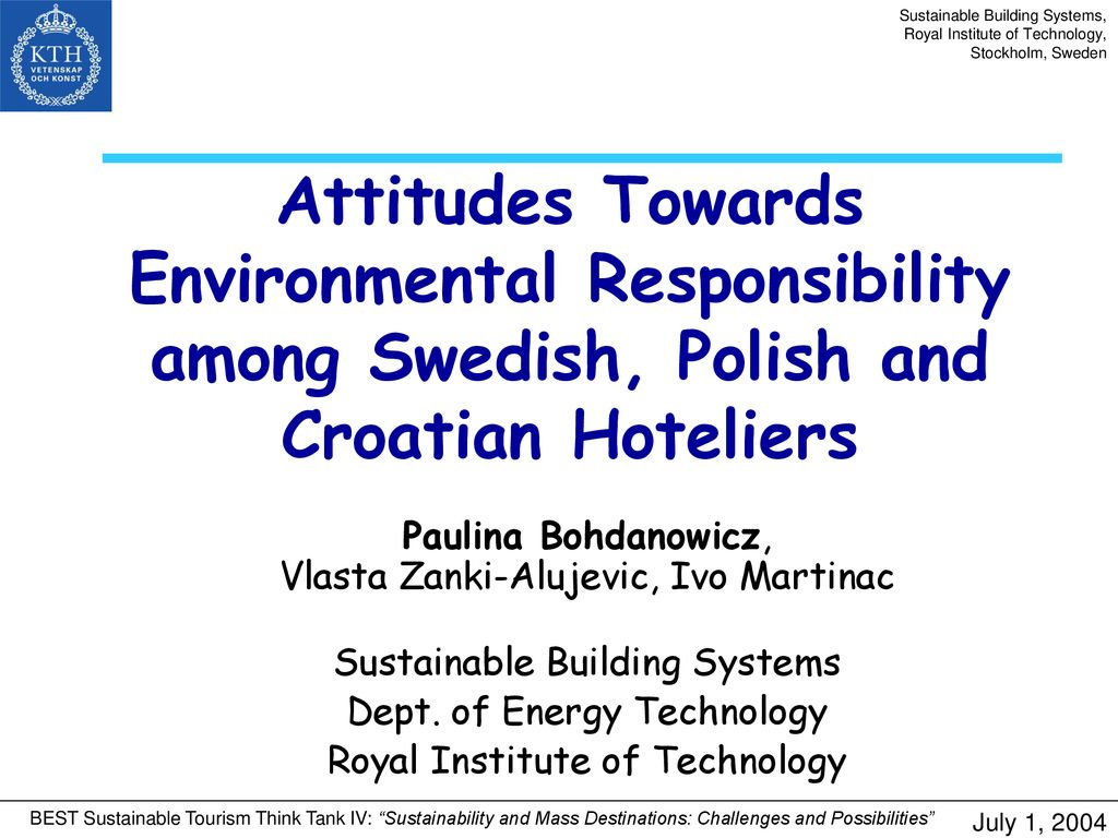 Sustainable Building Systems, Royal Institute of Technology