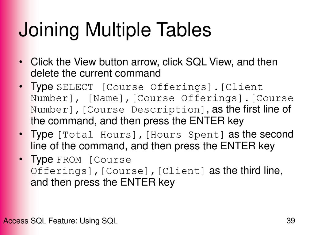 Access Sql Feature Using Sql Ppt Download