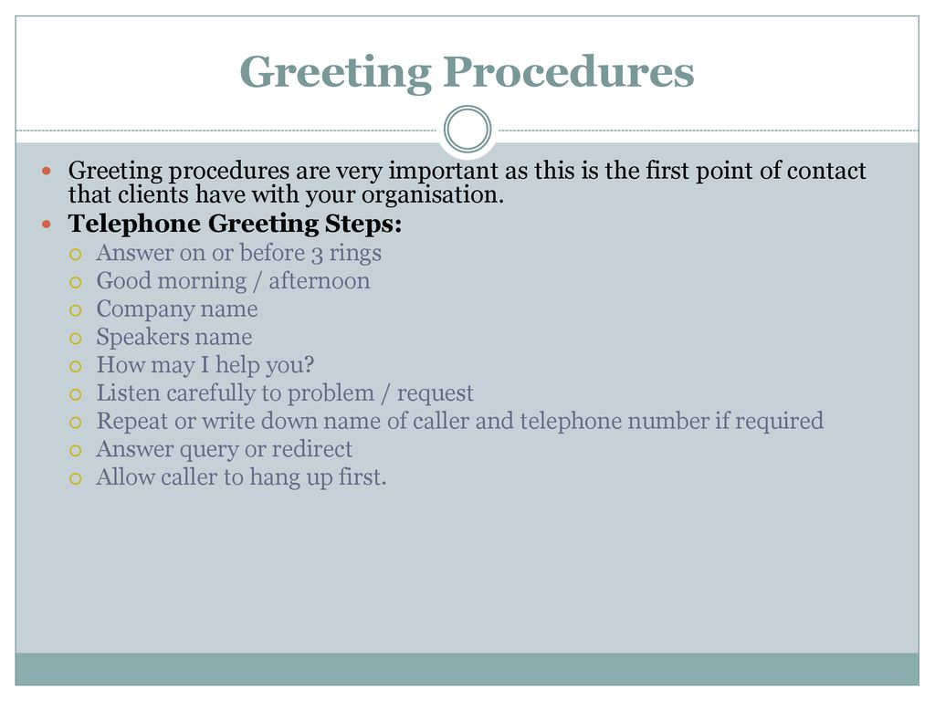 Client communication ppt download 9 greeting procedures m4hsunfo