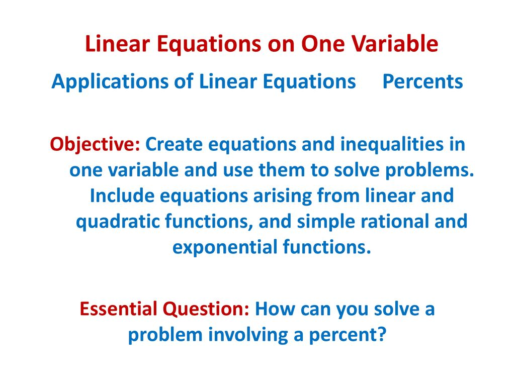 Linear Equations on One Variable - ppt download