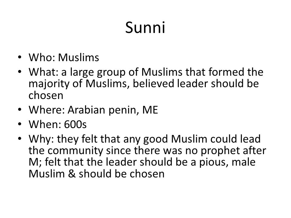 Sunni Who: Muslims. What: a large group of Muslims that formed the majority of Muslims, believed leader should be chosen.