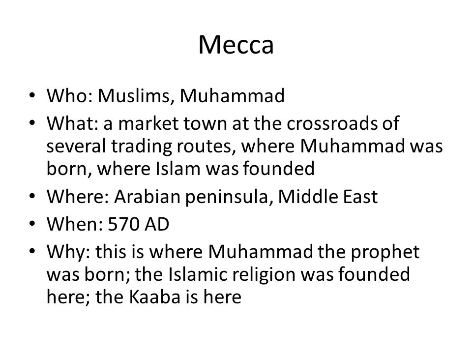 Mecca Who: Muslims, Muhammad