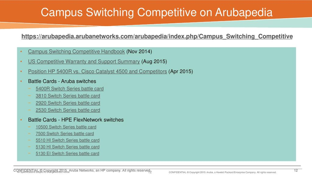 Aruba SWITCHING Campus COMPETITOR SWITCH MAPPING February