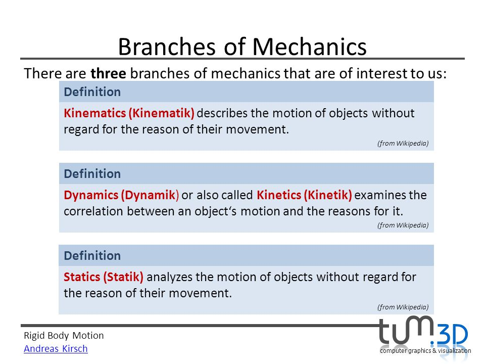 Branches of Mechanics There are three branches of mechanics that are of interest to us: Definition.