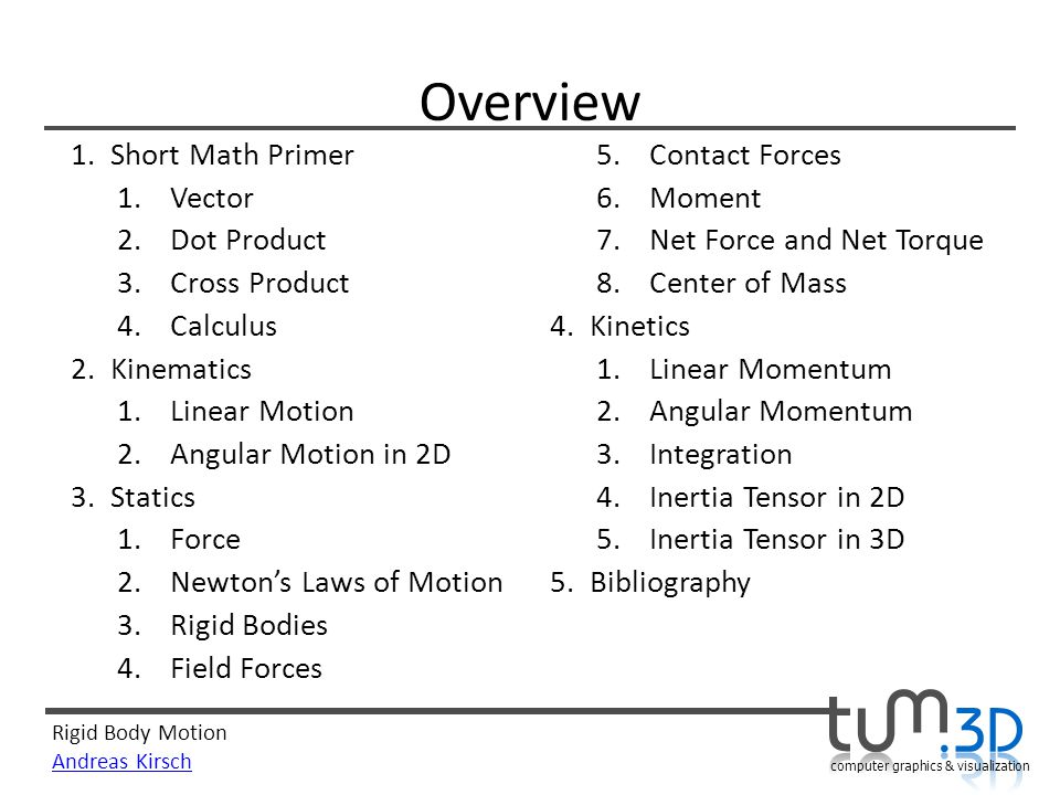 Overview Short Math Primer Contact Forces Vector Moment Dot Product