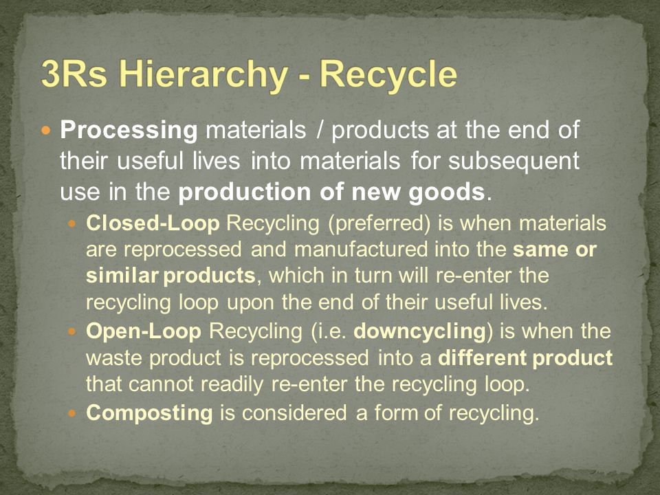 3Rs Hierarchy - Recycle