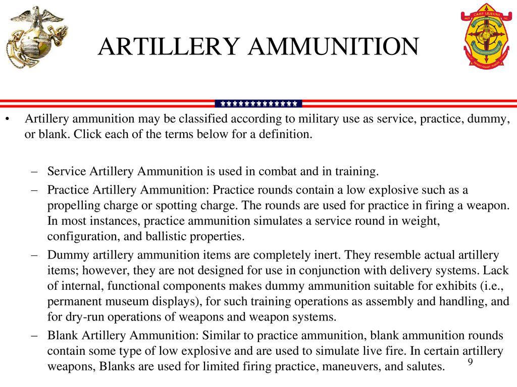 ARTILLERY AMMUNITION  - ppt download