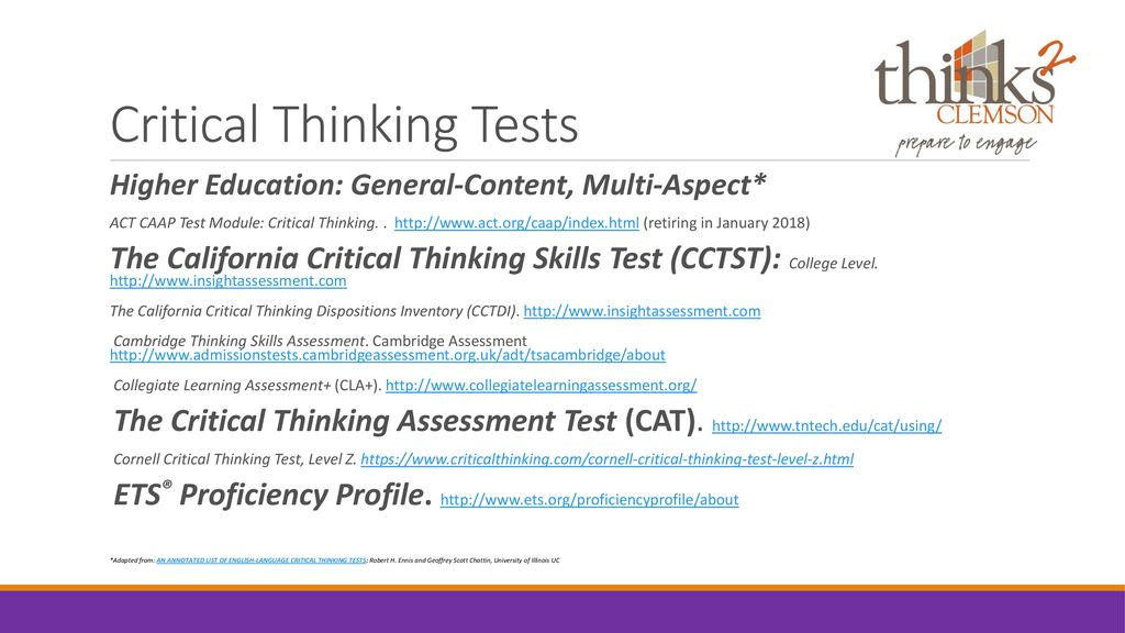 california critical thinking skills test practice