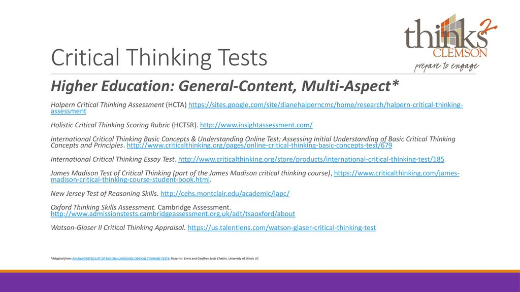critical thinking online test