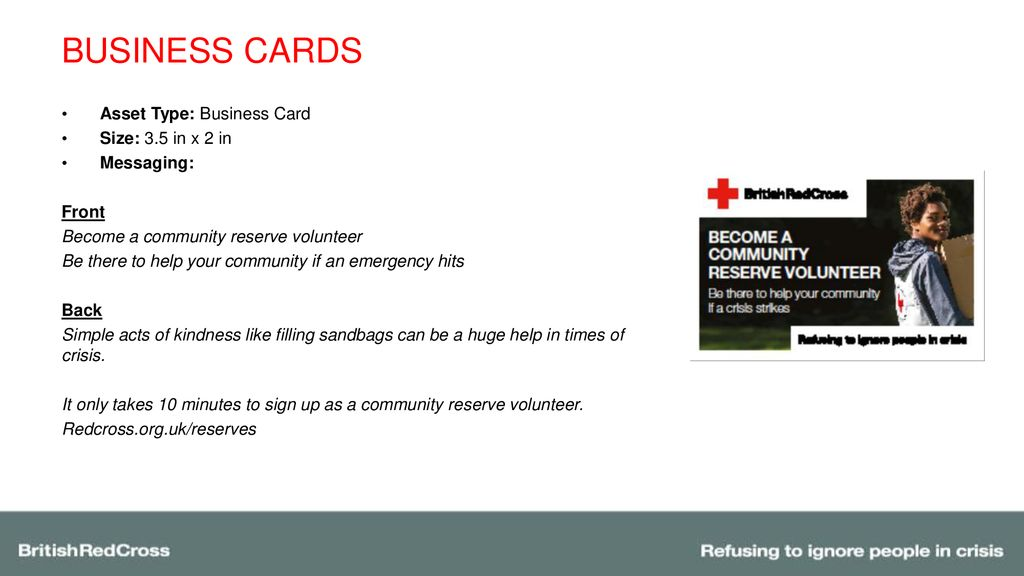 Community reserve volunteers ppt download business cards asset type business card size 35 in x 2 in colourmoves