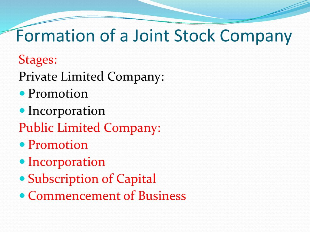 formation of a joint stock company ppt download