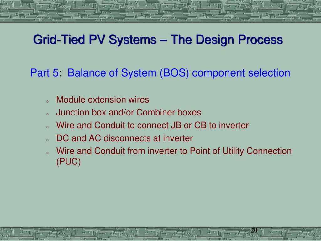 Photovoltaic Systems Engineering Residential Scale Part 2 Ppt Wiring Combiner Box Pv Grid Tied The Design Process