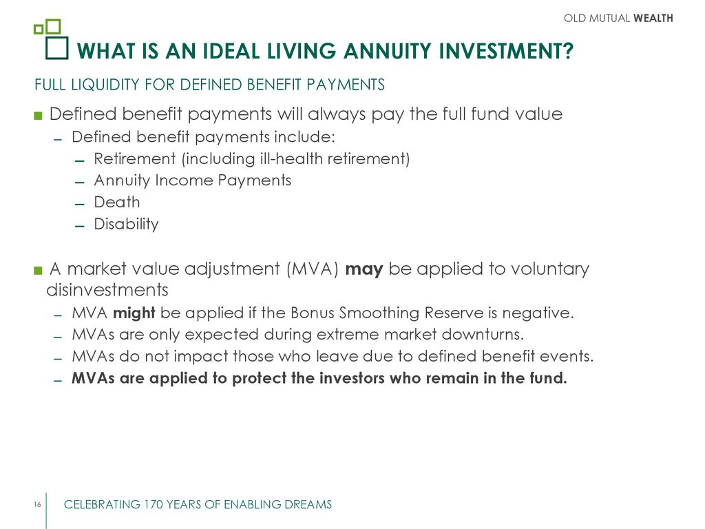 what is an ideal living annuity investment ppt download