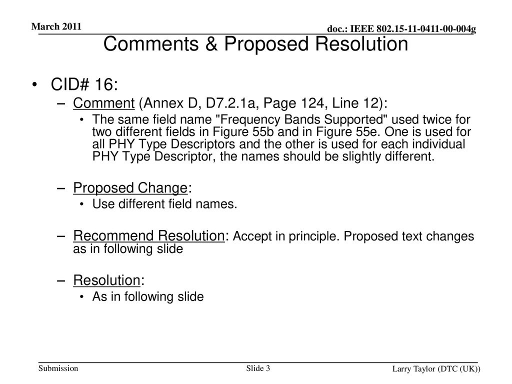 Comments & Proposed Resolution