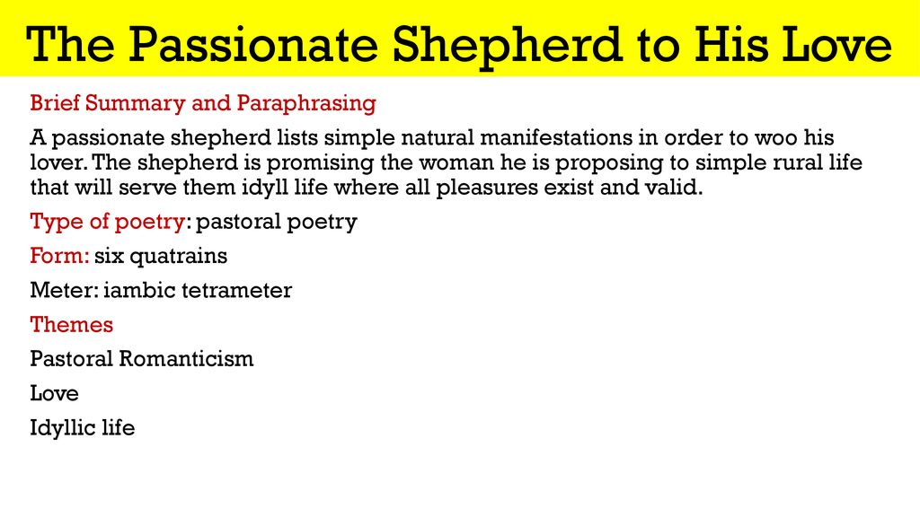Renaissance And Elizabethan Poetry Ppt Download Paraphrase The Poem Passionate Shepherd To Hi Love