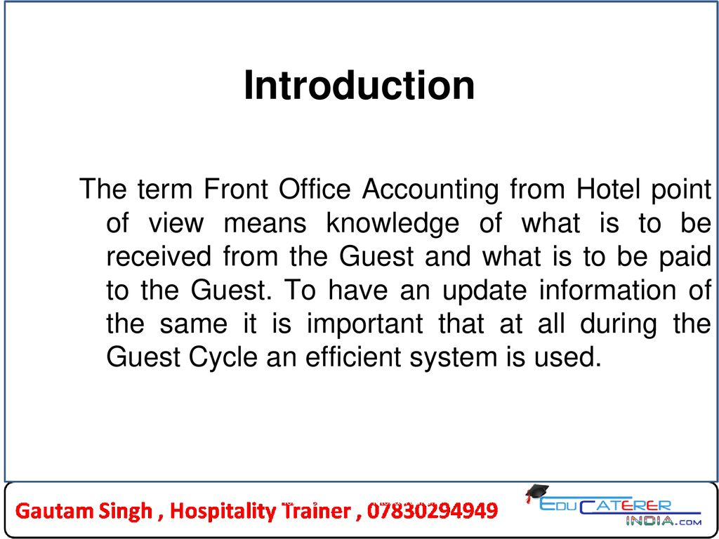 Front Office Accounting - ppt download