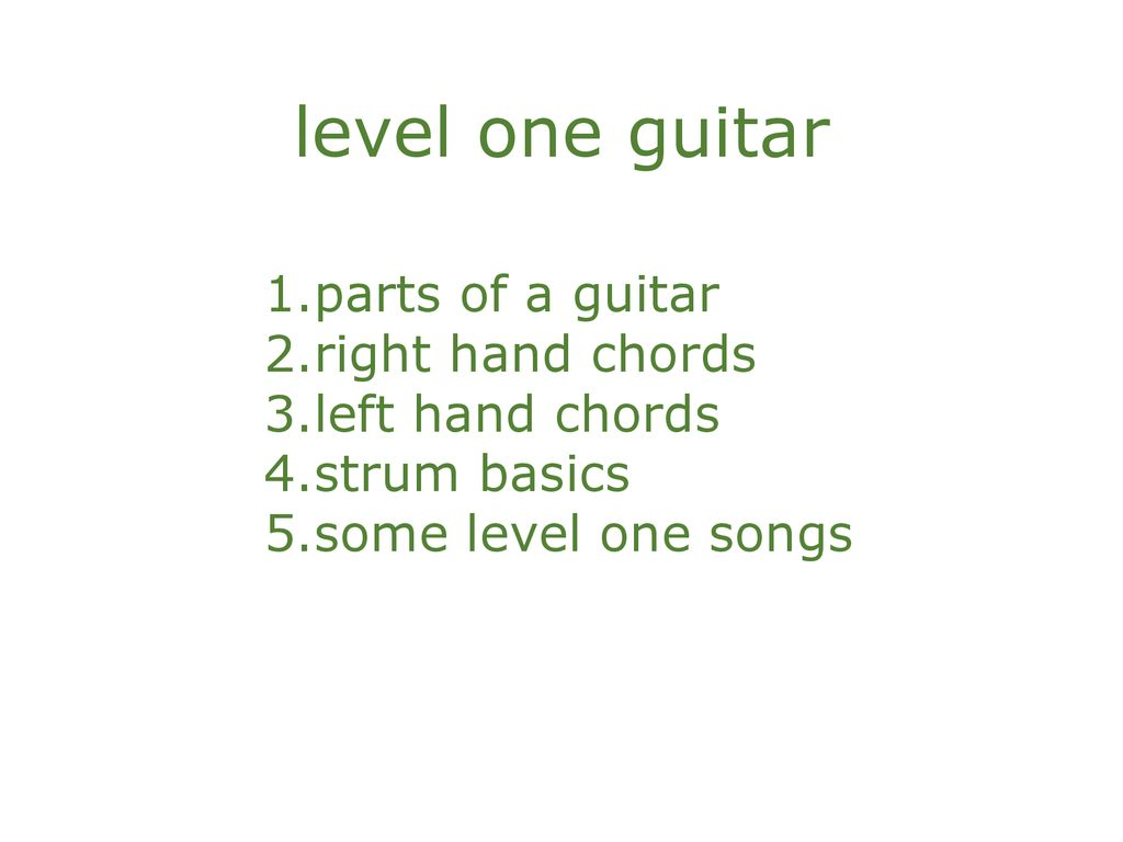 Level One Guitar Parts Of A Guitar Right Hand Chords Left Hand