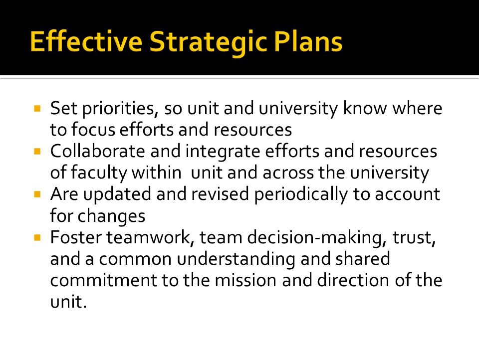 Effective Strategic Plans