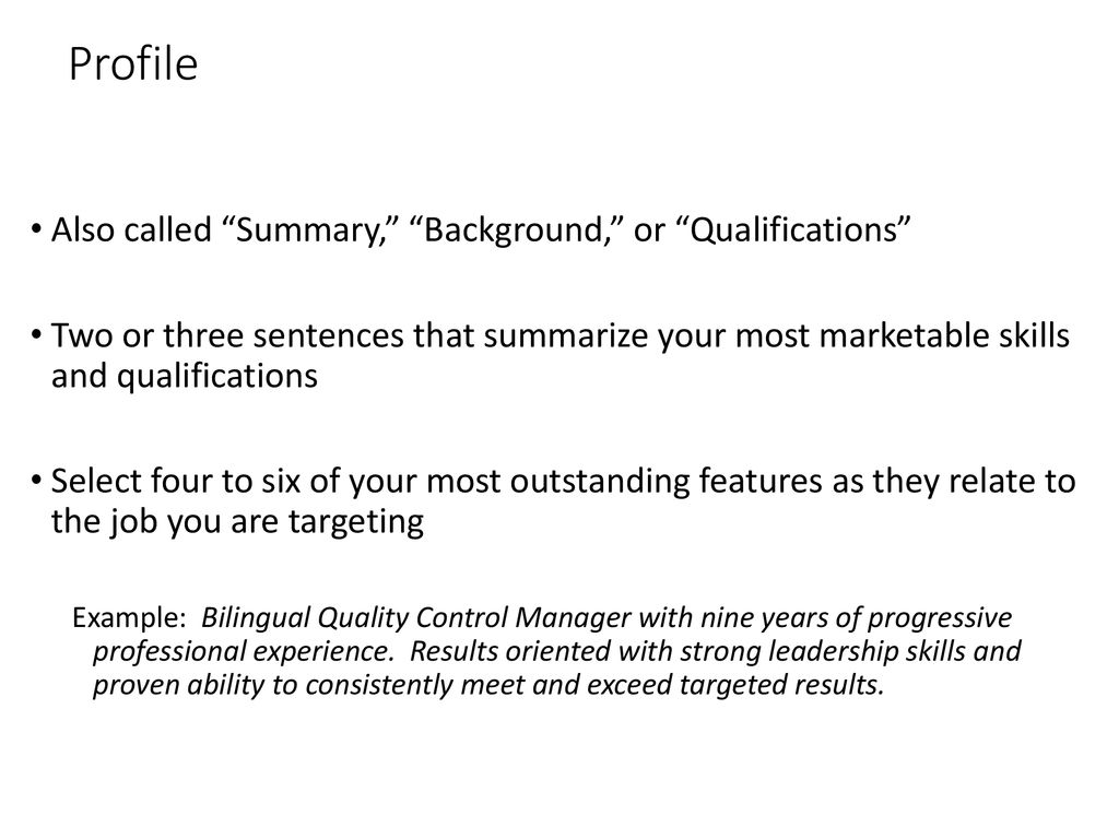 summarize your skills and qualifications