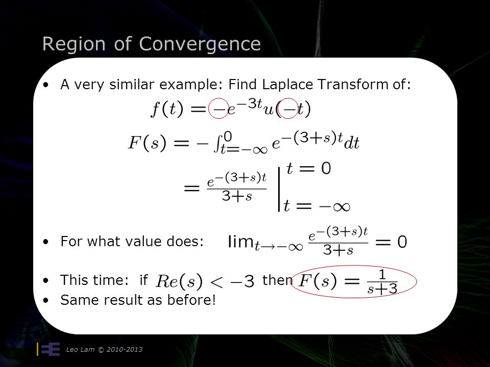 Region of Convergence A very similar example: Find Laplace Transform of: For what value does: This time: if then.