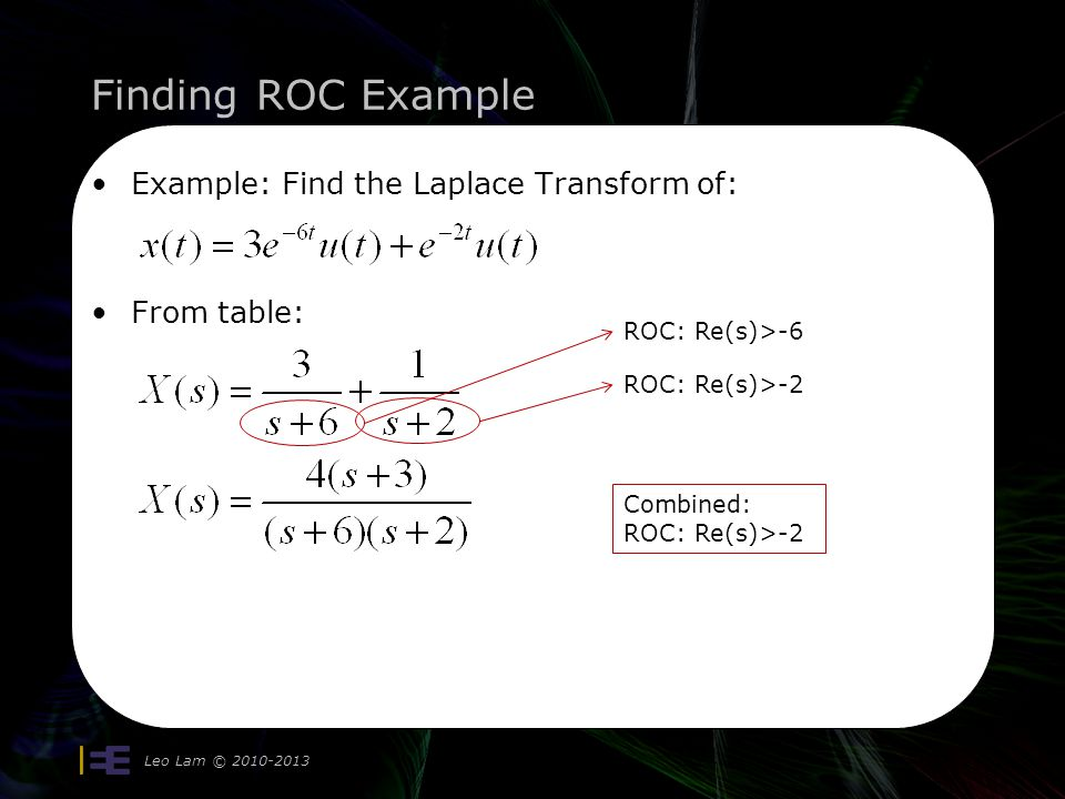 Finding ROC Example Example: Find the Laplace Transform of: