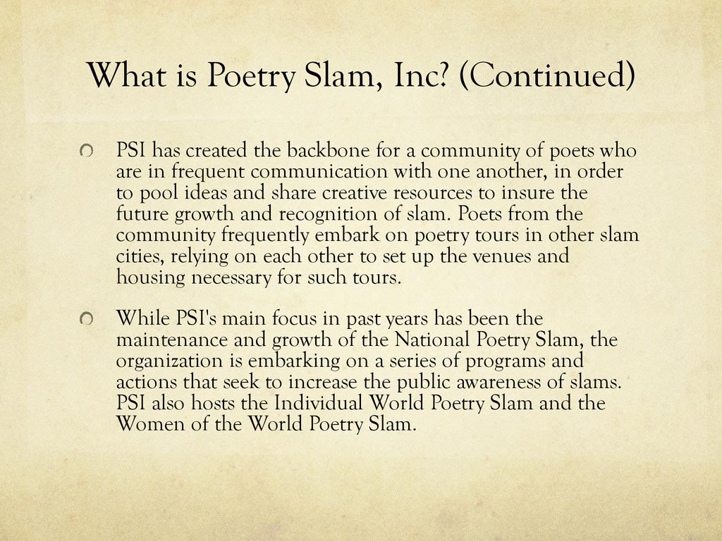 poetry slam competition - ppt download