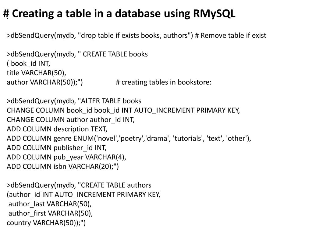 R and MySQL Database Tutorial - ppt download