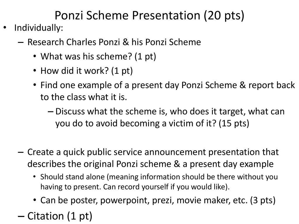 ponzi scheme presentation (20 pts) - ppt download