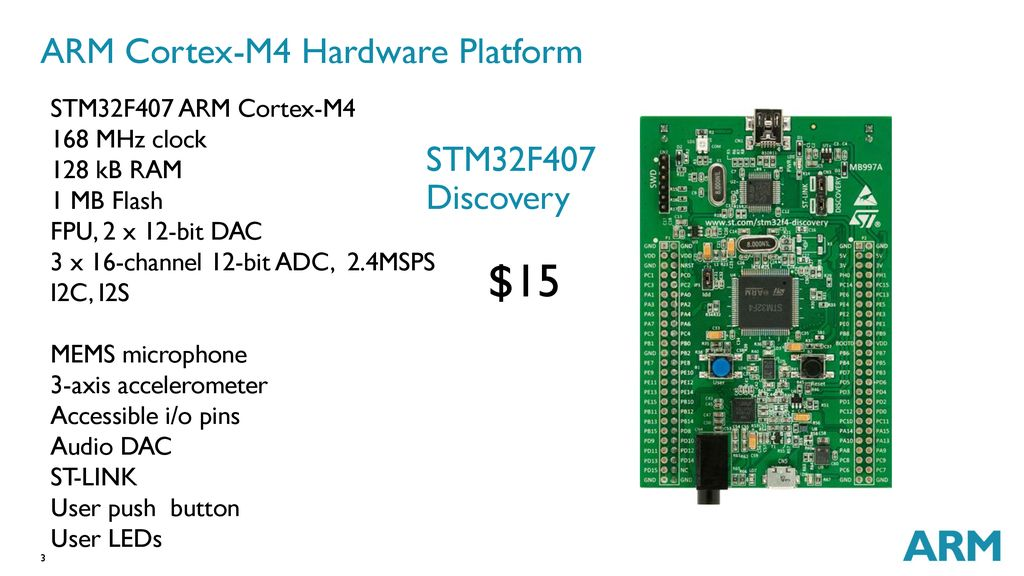 ARM Cortex-M4 Combines DSP and microcontroller features