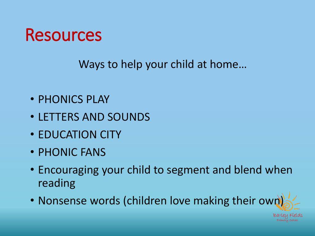 Barley Fields Primary School Y1 Phonics Workshop Autumn ppt download