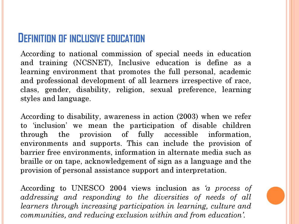 topic: stakeholders of inclusive education and their