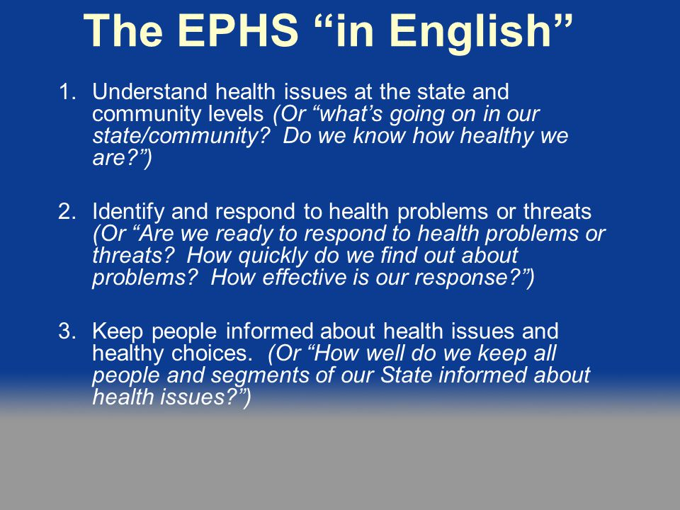 The EPHS in English