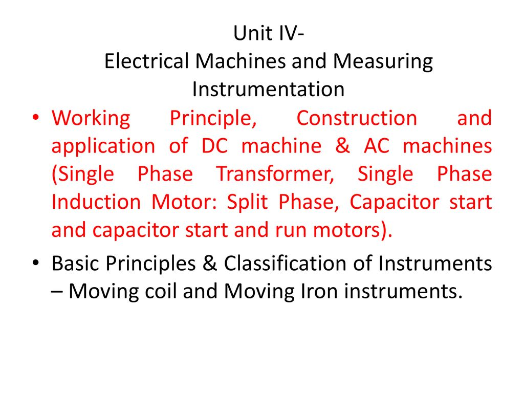 Unit Iv Electrical Machines And Measuring Instrumentation Ppt Induction Motor Wiring Diagram Split Phase Capacitor Start