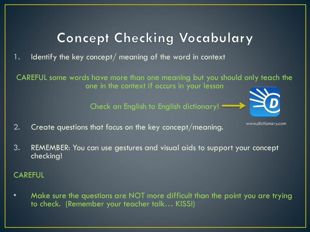 Instruction and Concept Checking Questions - ppt download
