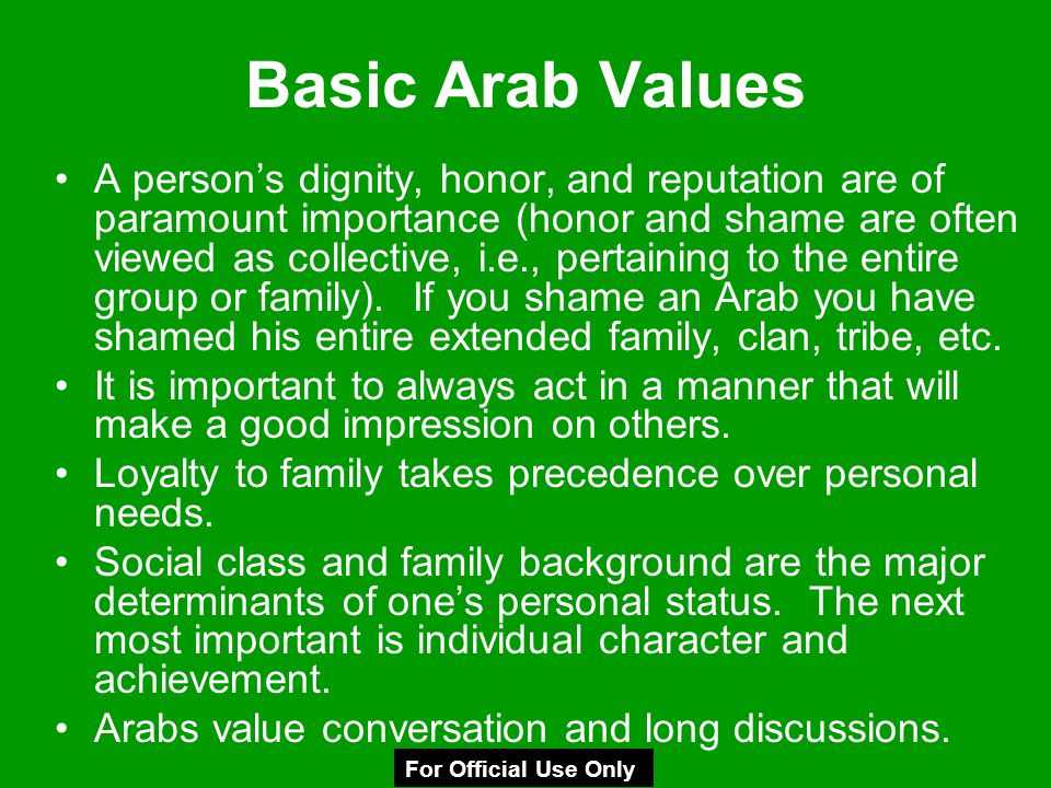 Basic Arab Values