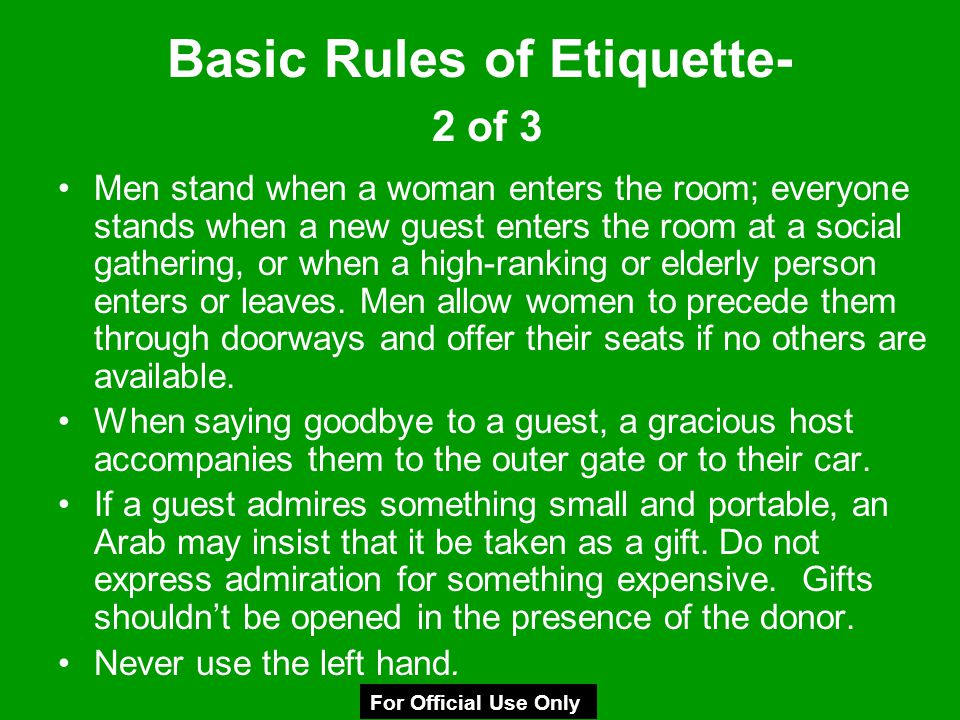 Basic Rules of Etiquette- 2 of 3