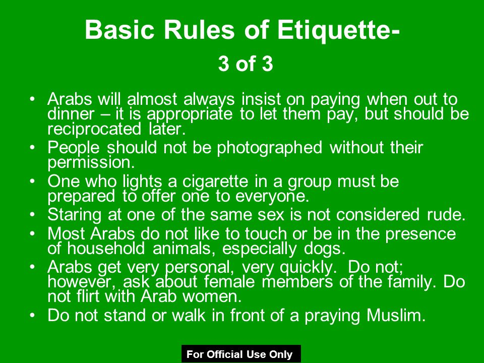 Basic Rules of Etiquette- 3 of 3