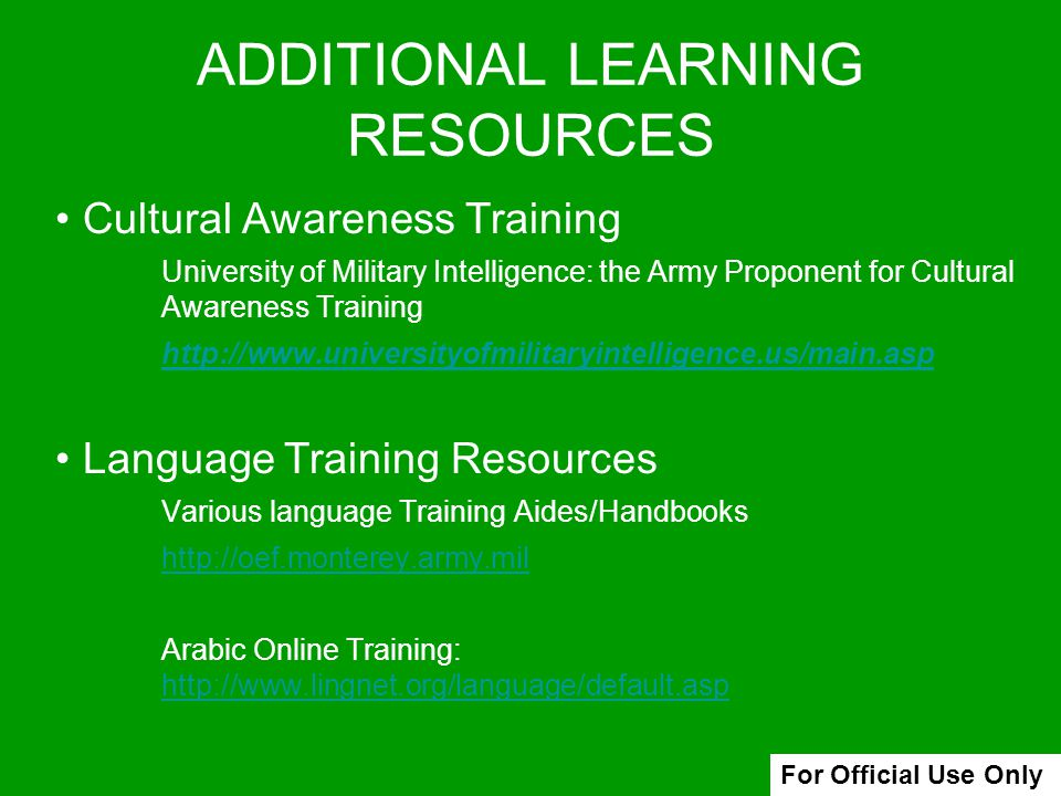ADDITIONAL LEARNING RESOURCES
