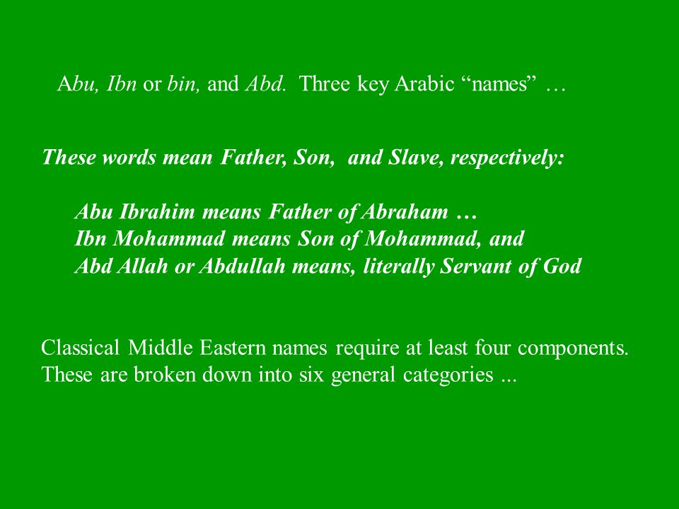 Abu, Ibn or bin, and Abd. Three key Arabic names …