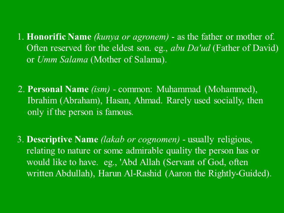 1. Honorific Name (kunya or agronem) - as the father or mother of.