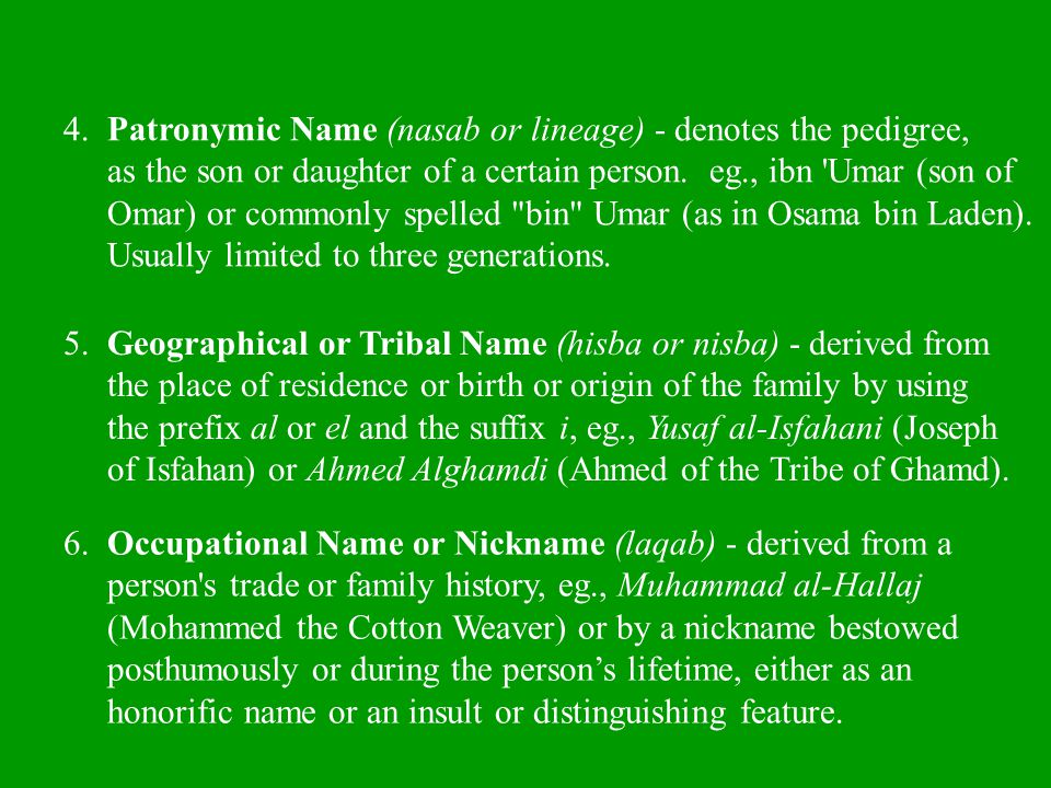 4. Patronymic Name (nasab or lineage) - denotes the pedigree,
