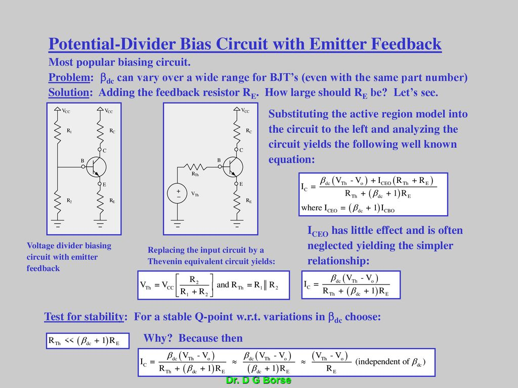 Bipolar Junction Transistor Basics Ppt Download Voltage Divider Bias Circuit Of A Bjt 59 Potential