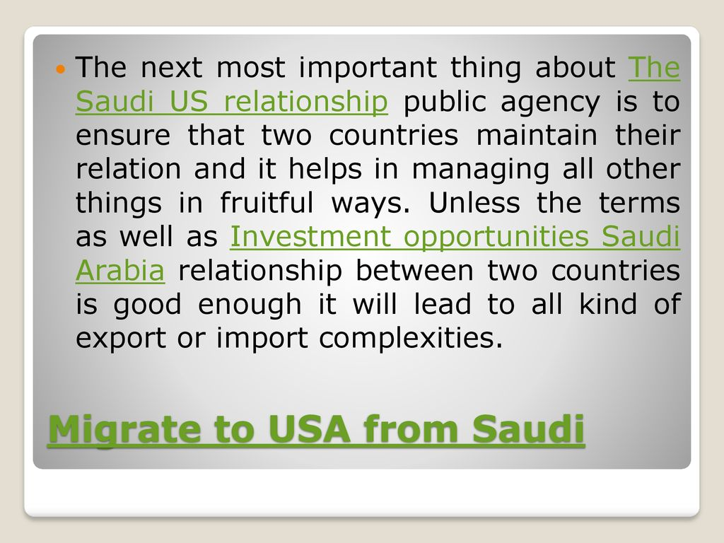 Relationship between Kingdom of Saudi Arabia and USA - ppt