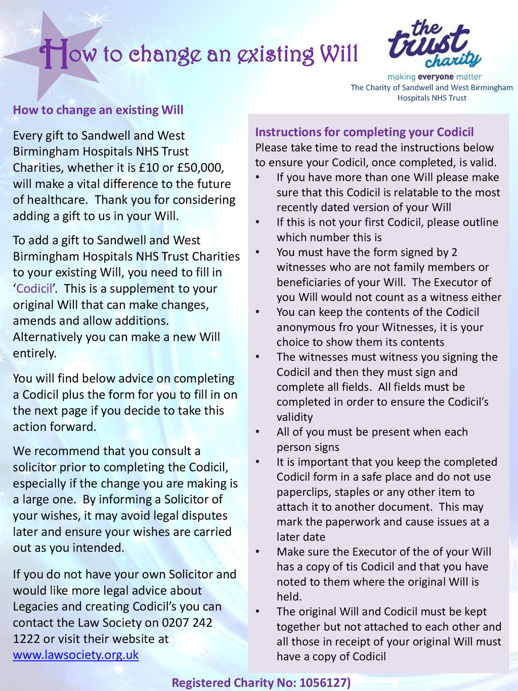 Ow To Change An Existing Will Registered Charity No Ppt Download