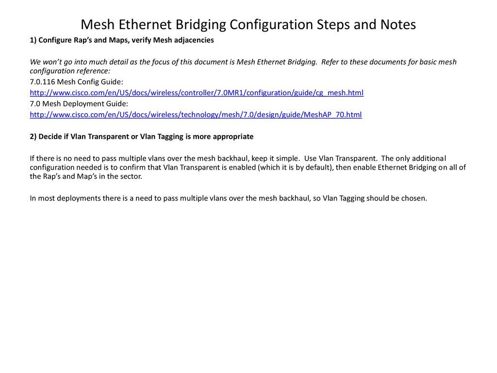 Understanding Mesh Ethernet Bridging - ppt download