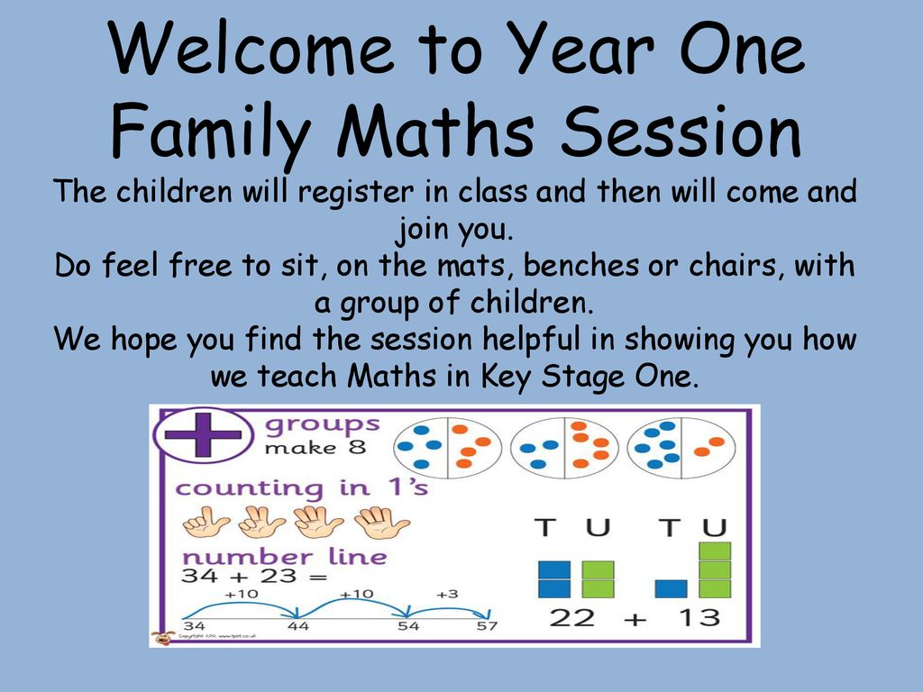 Welcome to Year One Family Maths Session The children will register ...