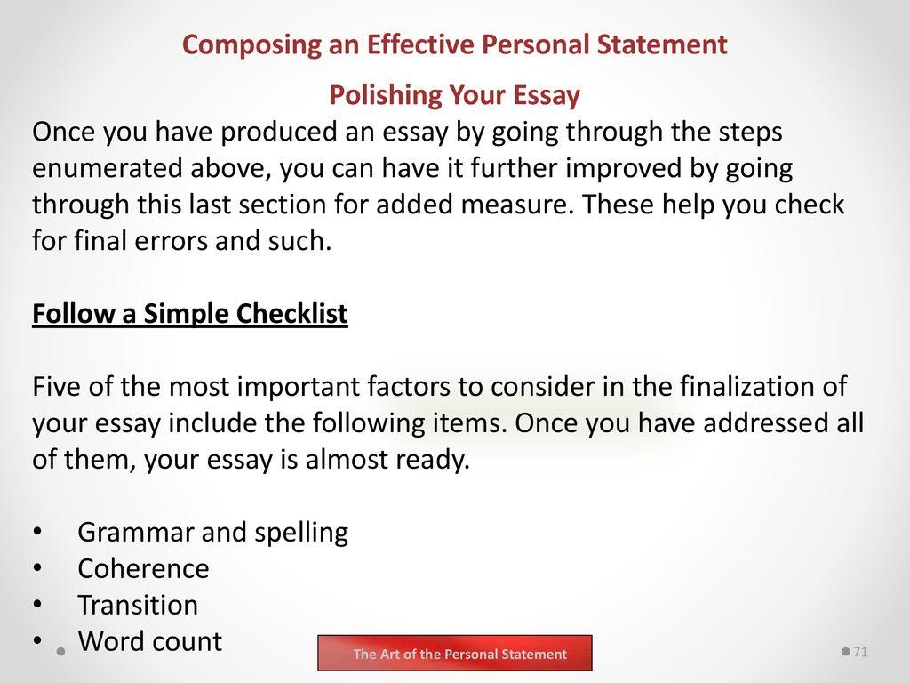 personal statement checklist